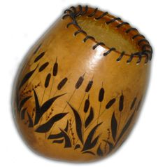 small woodburned gourd vases | Click to see enlarged view.