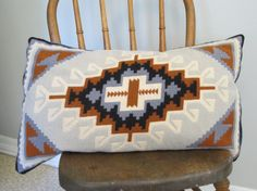 vintage Hand Made Navajo Southwestern Design Wool Needlepoint Pillow on Etsy, $39.00