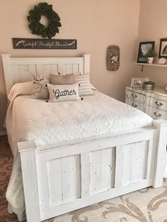Handmade wood bed frame-king bed frame-queen bed frame-bedroom Source by Bed Furniture, Bedroom Furniture Beds, White Bed Frame, Bedroom Design, Rustic Master Bedroom, Master Bedrooms Decor, Bedroom Decor, King Bed Frame, Shabby Chic Bed Frame