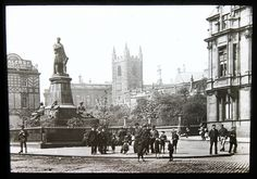Stephenson Monument by Tyne & Wear Archives & Museums, via Flickr. This is a Glass Slide of the Stephenson Monument in Newcastle upon Tyne. the slide is from some time between the late 19th and early 20th century. The slide would have been viewed through a Magic Lantern, an early type of image projector.