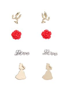 Disney Beauty And The Beast Earring Set,