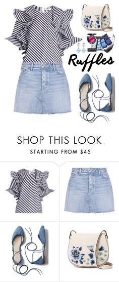 """""""Add Some Flair: Ruffled Tops"""" by hamaly ❤ liked on Polyvore featuring GRLFRND, Gap, French Connection, Miu Miu, outfit, denim, trends, alldenim and oot"""