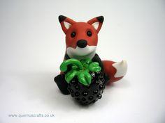 Little Fox with Glass Blackberry (blackberry by Phoenix Glass)