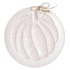 Mud Pie Fall Harvest Collection Milk Glazed Terracotta Embossed Pumpkin Platter