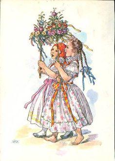 Marie Fischerova Kvechova - lidová kultura, folklor a folklorismus Illustrator, German Folk, New Fine Arts, Spring Images, Beltane, Art Themes, Children's Book Illustration, Vintage Pictures, Vintage Art
