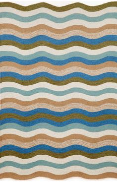 Trans Ocean Carlton Outdoor Waves Aqua Rug. 10% Off on Trans Ocean Rugs! Area rug, carpet, design, style, home decor, interior design, pattern, trend, statement, summer, cozy, sale, discount, free shipping.