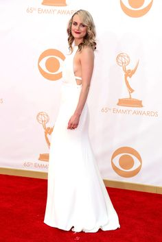 Taylor Schilling in Thakoo at the 65th Annual Primetime Emmy Awards held at Nokia Theatre L.A. Live on September 22, 2013 in Los Angeles, California