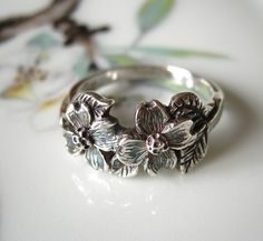 Dogwood Flower Ring Sterling Silver Handmade Jewelry