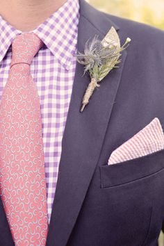 patterned shirt, tie, and pocket square #wedding