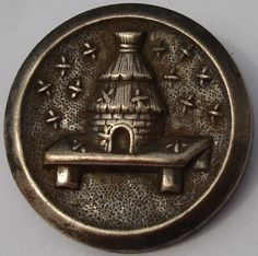 "Scarce ""Beehive"""" Vintage Antique Pewter Picture Button 