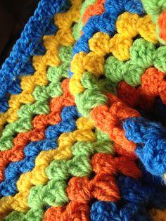 Son's blanket - granny stitch from Attic24 pattern. Used Plymouth Encore WW yarn.