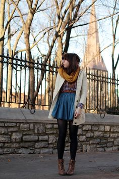 President Of The Chess Club Cardigan, H Jean Skirt, Forever 21 My Favorite Boots
