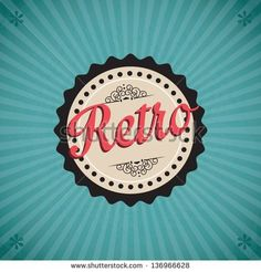 Different retro icons on vintage background - stock vector