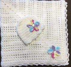Handmade sugar and spice baby girl crochet blanket w/ hat