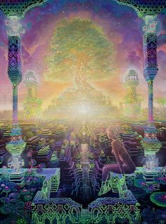 """Jonathan Solter is a visionary artist from the Bay Area in California. He said he tries """"to put as much detail into every painting as possible."""" And looking at some of his artwork, this is clear: he paints brilliantly intricate ethereal worlds. Monte Fuji Japon, Psychedelic Space, Psy Art, Visionary Art, Fractal Art, Sacred Geometry, Trippy, Fantasy Art, Cool Art"""