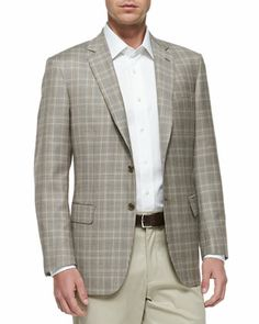 Plaid Two-Button Jacket, Tan/Brown by Brioni at Neiman Marcus.