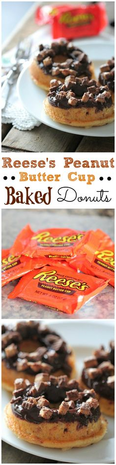 Reese's Peanut Butter Cup Baked Donuts!  Soft, baked and packed with Reese's :) #donuts #doughnuts #recipe #dessert