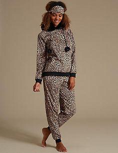 Long Sleeve Leopard Print Hooded Pyjamas with Eye Mask