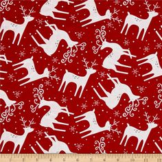 Alpine Reindeer Toss Red from @fabricdotcom Designed by Pink Chandelier and licensed to Wilmington prints, this…