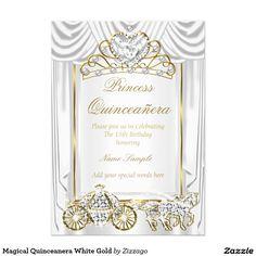 Magical Quinceanera White Gold 5x7 Paper Invitation Card