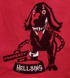 Property of Hellsing Red shirt multi eyed black hou nd T-shirt tee Tshirt