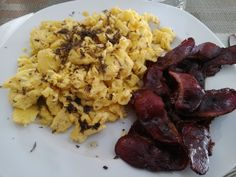 Black truffles, eggs and duck bacon.  When you have been very, very, very good.