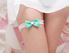 Mint bow garter. The Little White Dress.