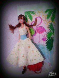 diy barbie doll vintage dress with light blue belt  ~sewing pattern~