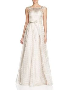 Aidan Mattox Sleeveless Embellished Metallic Gown | Bloomingdale's