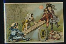 J&P Coats Victorian trade card, children on see-saw