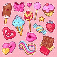 Set of kawaii sweets and candies. Graphics Set of kawaii sweets and candies. Crazy sweet-stuff in cartoon style. by incomible Sweet Drawings, Kawaii Drawings, Easy Drawings, Candy Drawing, Food Drawing, Tumblr Stickers, Cute Stickers, Griffonnages Kawaii, Doodles Kawaii