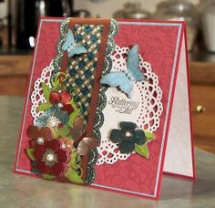 Handmade Note Card 3D Floral Paper Tole & by Butterflies. The card is made using Pretty Posies papers & foil papier tole by Hot Off the Press