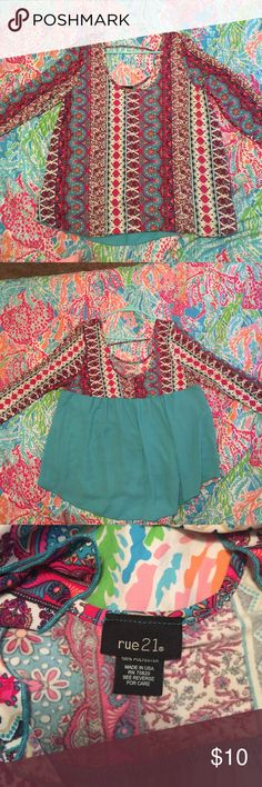 Rue 21 blouse Worn once for picture day beautiful print! Quarter long sleeves Rue 21 Tops Blouses