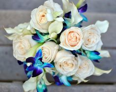 blue calla lilies | Blue orchid, white rose and calla lily bouquet ... | Been there, done ...