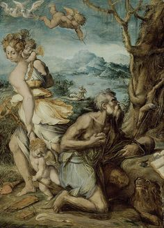 Tentación de San Jerónimo, por Giorgio Vasari.