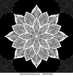 Mandala. Round Ornament Pattern on black background. Vector illustration.