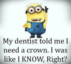 Funny Minion Pictures Below are some very funny minions memes, and funny quotes, i hope you will enjoy them at your best . and why not whatever minions do they always look funny and stupid . So make sure to share the best minions with your friends . Funny Minion Pictures, Funny Minion Memes, Minions Quotes, Funny Jokes, Minion Humor, Funny Dentist Memes, Minion Sayings, Cartoon Quotes, Funniest Memes