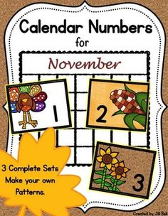 This product contains 3 complete sets of printable calendar numbers appropriate for the month of November. 2 Bonus non-seasonal sets also included!