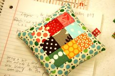 Nine-Patch Pin cushion - Crazy Mom Quilts  ~Looks like a great way to use pieces of the scrap stash!~