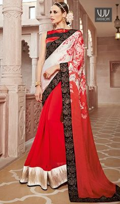 8531e37d129 Impeccable Red Color And Georgette Designer Saree Grab the second look in  this elegant attire for