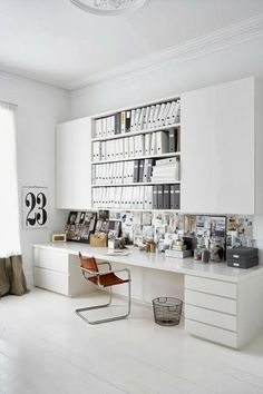 Great way to turn a wall into a really functional work space! A bit of planning on the stationery you'll buy and display (like binders) creates a really bold look! Love it! #sublimefinds