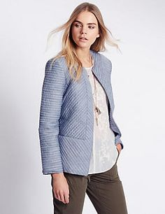 Pure Cotton Chambray Quilted Jacket
