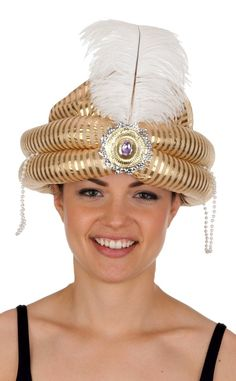 Gold Arabian Turban With Medallion and Feather - Candy Apple Costumes - Arabian Costumes