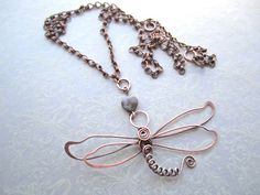 Dragonfly Copper Necklace with Jasper Heart Bead by MyWiredHeart