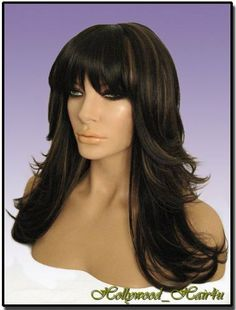 """Hollywood_Hair4u - Long Razor Feathered HL4 / 27 Dark Brown with Strawberry Blonde Highlights Mix Kanekalon Heat Resistant Synthetic Wig with Skin Top *NEW* by Hollywood_hair4u. $38.99. Color is HL4 / 27 Dark Brown with Strawberry Blonde Highlights Mix, and length about 19 inches / 48 cm. Also avalable in other colors. Please click on """"Hollywood_hair4u"""" to see seller's other items.. It is made from high quality Heat Resistant Kanekalon synthetic fibers, feels like human ..."""