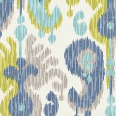 Aqua, Blue & Green Ikat Fabric | Indian Summer Stillwater | Loom Decor