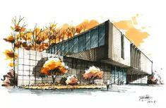 Interior Architecture Drawing, Architecture Concept Drawings, Watercolor Architecture, Architecture Sketchbook, Architecture Design, Landscape Sketch, Landscape Design, Building Sketch, Perspective