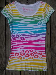 NOLLIE Pac Sun juniors size S rainbow colors zebra/animal print tee shirt  EUC | Clothing, Shoes & Accessories, Women's Clothing, T-Shirts | eBay!