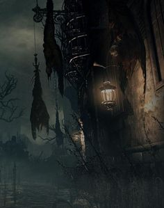 Bloodborne art // The Hunter's Mark, a body dangling upside down to drain its blood. Bloodborne Concept Art, Bloodborne Art, Dark Fantasy Art, Fantasy World, Dark Art, Steampunk, Lovecraftian Horror, Gothic Horror, Dark Gothic