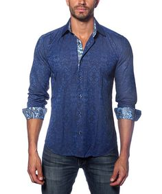 Look what I found on #zulily! Electric Blue Arabesque & Paisley Button-Up by Jared Lang #zulilyfinds